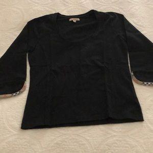 BURBERRY 3/4 sleeve stretch top, nova check trim